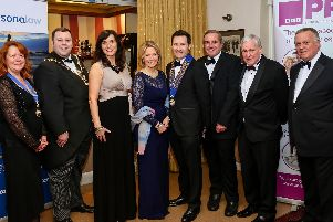 ON THE BALL: From left, Denise Bull, chair of Southampton Property Association, Lord Mayor of Portsmouth Councillor Lee Mason, Rachel Roxburgh, chief executive of Portsmouth Property Association's chosen charity Dallaglio RugbyWorks, guest speaker Hazel Irvine, a TV sports presenter whose career spanned the BBC and ITV, PPA chairman Tom Holloway, renowned property auctioneer Clive Emson, Nigel Cole of event sponsor Verisona Law and Mike Dyer, chairman of Verisona Law.