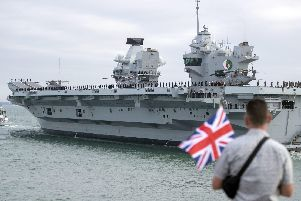 HMS Queen Elizabeth is set to leave Portsmouth. Photo: Steve Parsons/PA Wire
