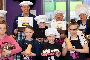 Councillors and children at the Veg Power cooking contest.