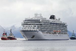 The cruise ship Viking Sky arrives at port off Molde, Norway after the problems in heavy seas off Norway's western coast. Rescue helicopters took more than 475 passengers from a cruise ship that got stranded off Norway's western coast in bad weather before the vessel departed for a nearby port under escort and with nearly 900 people still on board, the ship's owner said Sunday. Picture: Svein Ove Ekornesvag/NTB scanpix via AP.