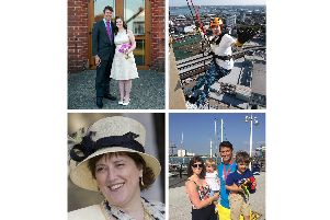 Clockwise from top left: Verity and husband Matt, Verity abseiling down the Spinnaker Tower, Verity and Matt with their children and Verity's mum Alison