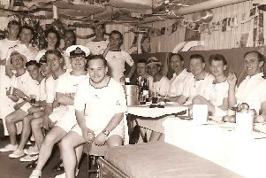 Royal Yachtsmen enjoy a drink after Christmas lunch 1962 while in Kingston, Jamaica. Photo: Mike Hill