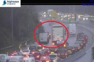 One lane is blocked on the M27. Picture: Highways England