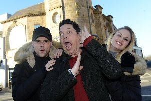 Dom Joly, centre, with his Rocky Horror Show co-stars, Ben Adam and and Joanne Clifton. Picture by Stu Norton