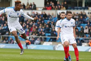 Jamal Lowe crashes home Pompey's 18th-minute opener in Saturday's 3-2 success at Wycombe. Picture: Joe Pepler