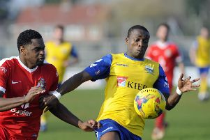 Gosport Borough hope Ibra Sekajja will be back fit quickly after treatment on his ankle. Picture: Ian Hargreaves (300319-12)