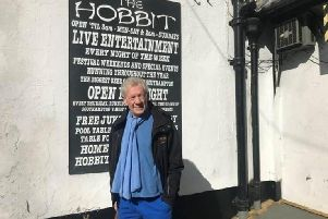 Sir Ian McKellen outisde The Hobbit pub in Southampton. Picture: Supplied