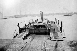 A photograph dating from 1864 showing the chain ferry from Portsmouth to Gosport.  Picture: Barry Cox Collection.
