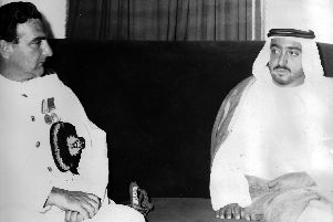 Commander Walwyn with Sheikh Khalife Bin Zayed. Picture: Gordon Walwyn