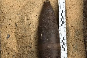 The shell that was discovered dumped in a bin. Photo: Royal Navy