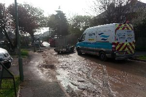 The aftermath of the burst sewage pipe in Fishery Lane. Picture: Neil Fatkin