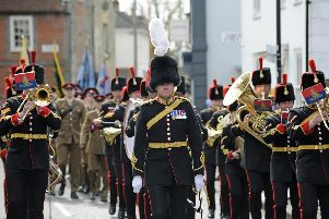 30 Battery 16 Regiment Royal Artillery lead the annual St Georges Day parade through Emsworth town centre last year. Picture Ian Hargreaves (180463-1)