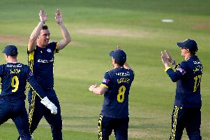 Kyle Abbott celebrates claiming a wicket against Kent. Picture  by Jordan Mansfield/Getty Images