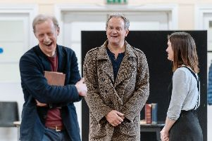 Andrew Havill, Hugh Bonneville and Liz White in rehearsal for Shadowlands at Chichester Festival Theatre, April 2019. Picture by Manuel Harlan