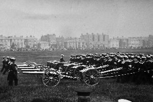 The Kings birthday parade on Southsea Common in a 1907 postcard. Photo: Barry Cox postcard collection.