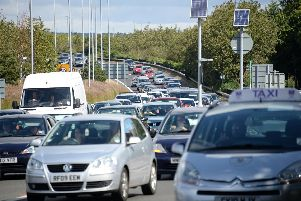 Traffic queueing on the M275 into Portsmouth. Picture: Paul Jacobs (142476-229)