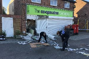Forensics officers at Co-op in Hambledon Road in Denmead on October 3 2018 after a cash machine was ripped from the building. Picture: Tamara Siddiqui'