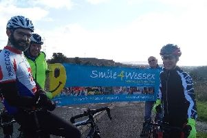 Ross at the start with other riders on Southwick Hill