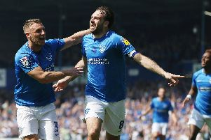Brett Pitman celebrates his 83rd-minute winner against Coventry which made it eight-straight wins. Picture:Joe Pepler