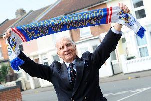Peter Hames celebrated his 90th birthday at Fratton Park on Easter Monday, April 22. Picture: Sarah Standing (220419-5595)