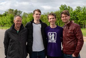 Groom Martin Stockley, second from right, at Fareham parkrun with his dad Keith, left, brother Calum and cousin and best man Tom. Picture: Vernon Nash (270419-021)