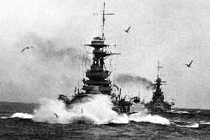 In line ahead the battleship HMS Ramillies tackles a heavy sea. Which boy would not want to join the navy?