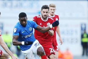 Omar Bogle in action for Pompey in the final day clash with Accrington