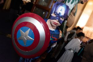 Portsmouth Comic Con  International Festival of Comics brings the best of comic, film, TV and pop culture entertainment and is set to be the largest event of its kind in the South - Michael McDonald (7yrs) as 'Captain America''Picture: Duncan Shepherd