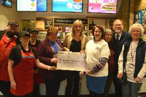 Chat founder Jeanette Perry, centre right, with Gosport MP Caroline Dinenage, middle, mayor of Gosport Diane Furlong, centre left, as well as volunteers and Greggs staff. Picture: Peter Maguire