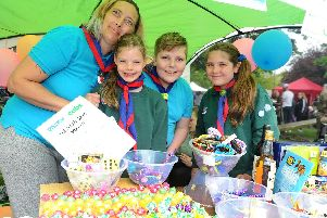 (l-r) Rachel McPhail, beaver scout leader, with cub scouts Shannon Young (9), Dawson Hamilton-Smith (11) and Elsie Avis-Smith (10) from 43rd St Mary's Portsmouth. Picture: Sarah Standing (060519-8251)