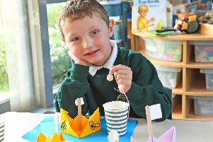 Year R pupil Alfie Ivemey (5) at Wicor Primary School makes his very own toy without the use of any plastic. Picture: Malcolm Wells