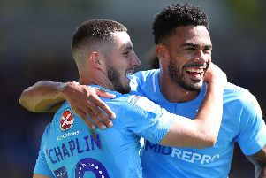 Jordan Willis, right, with former Pompey striker Conor Chaplin  Picture: Catherine Ivill/Getty Images