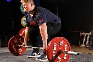 Powerlifter Ray Bowring, 16, during a warm up before competing at Thorngate Halls, Gosport.       Picture: Chris Moorhouse          (200419-)