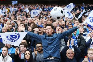 Pompey fans at the Checkatrade Trophy final at Wembley Picture: Joe Pepler