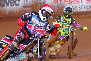Warriors racer Ben Morley gets clear of Tom Brennan during the match against Cradley. Picture: Ian Groves/Sportography