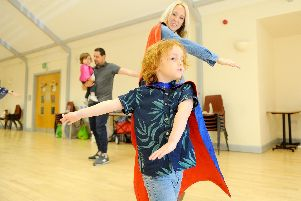 Ziggy Farmer, four, with his mum Jennie Farmer from Havant took on a sponsored Watch Me Fly dance challenge at their Diddi dance class Picture: Sarah Standing (130519-9048)