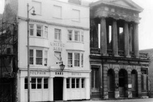 The Dolphin and City Museum, Old Portsmouth,1946. The Luftwaffes bombs wrecked the museum but left the Dolphin unscathed.