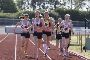Olivia East, number 775, winning the 800m at the Mountbatten Centre. Picture: Paul Smith