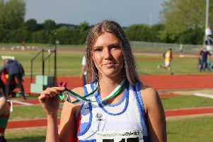 Madeline Wilton won the triple jump in the Hampshire Championships on Saturday. Picture: David Brawn