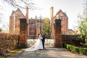 Vicki and Carl Postins outside New Place Hotel, Shirrell Heath, on their wedding day. Picture: Carla Mortimer Photography