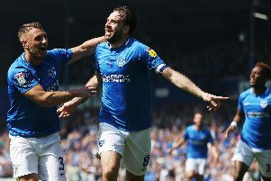 League One - Portsmouth vs Coventry City - 22/04/19'Portsmouths Brett Pitman celebrates scoring his first goal of the match with Portsmouths Lee Brown