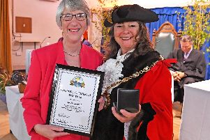 Recipient of the Gosport Citizen of The Year award ,Joy Hammond, with the newly elected Mayor of Gosport, Cllr Kathleen Jones. Picture: Malcolm Wells (190515-9308)