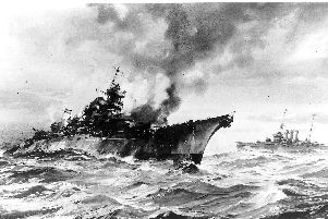 The sinking of the Bismarck 1941 by artist Charles E Turner.