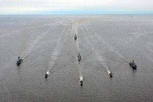 Hectic time for HMS Westminster on NATO Baltic mission''HMS Westminster (centre, second row) and the NATO group trains with Finnish patrol boat.'Picture: HMS Westminster and US Navy ''