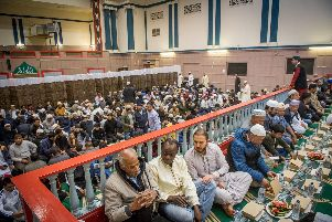 People waiting to break their fast at the Jami Mosque in Portsmouth on Tuesday. Picture: Habibur Rahman