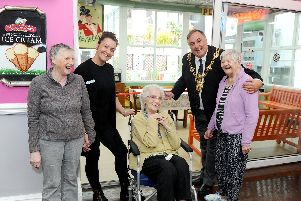 From left, Gillian Cook, care home manager Hayley George, Bee Poole, The Lord Mayor of Portsmouth David Fuller and Sheila Hayward.'Picture: Sarah Standing (200519-9613)
