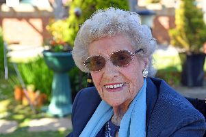 Evelyn Guy on her 100th birthday. Picture: Malcolm Wells (190522-0231)