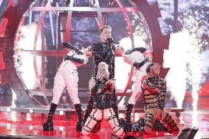 Hatari representing Iceland, performs live on stage during the 64th annual Eurovision Song Contest held at Tel Aviv Fairgrounds on May 18, 2019 in Tel Aviv, Israel. (Photo by Michael Campanella/Getty Images)