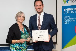 Winner of the Volunteer of the Year Linda Bracher given out by MP Stephen Morgan.