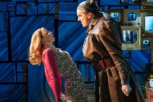 Carly Thoms as Miss Honey and Elliot Harper as Miss Trunchbull in the Royal Shakespeare Company's Matilda The Musical at Mayflower Theatre, June/July 2019. Picture by Manuel Harlan'